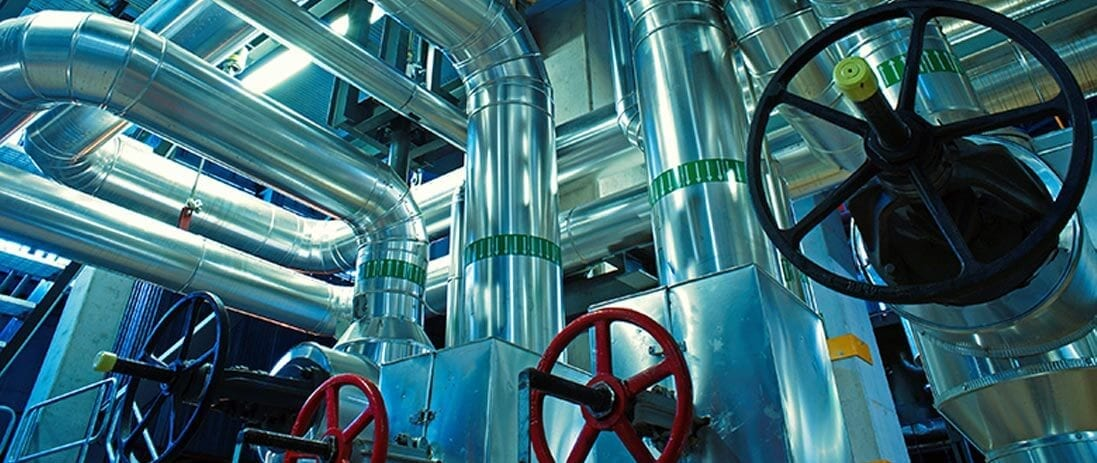 Valves and pipes in a chemical plant