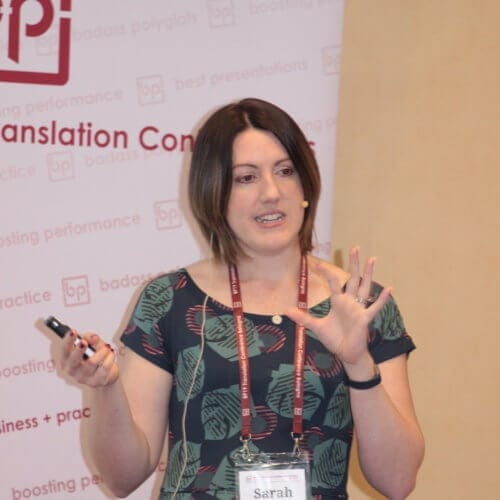 Sarah Silva presenting at BP Translation Conference May 2019