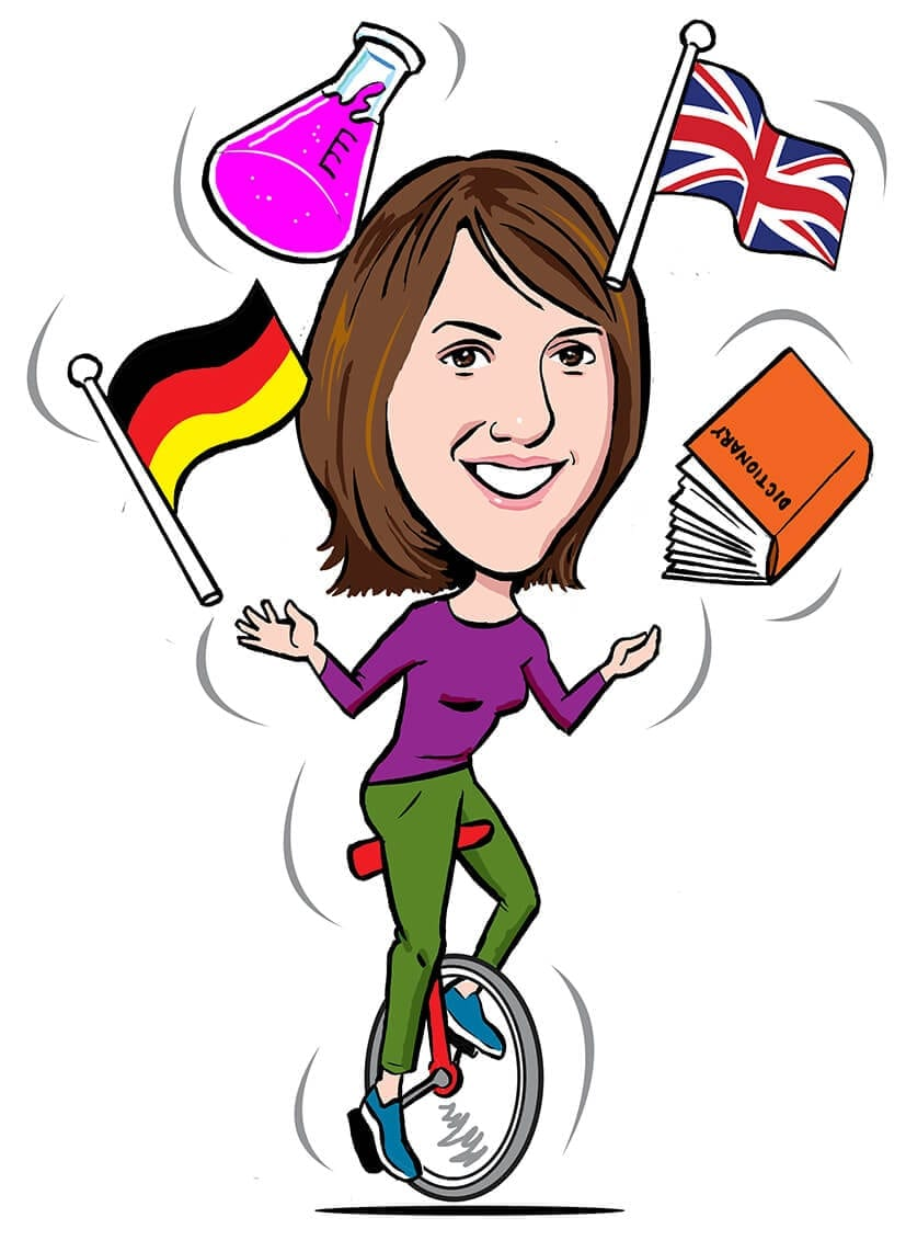 Cartoon showing Sarah Silva juggling languages and science on a unicycle